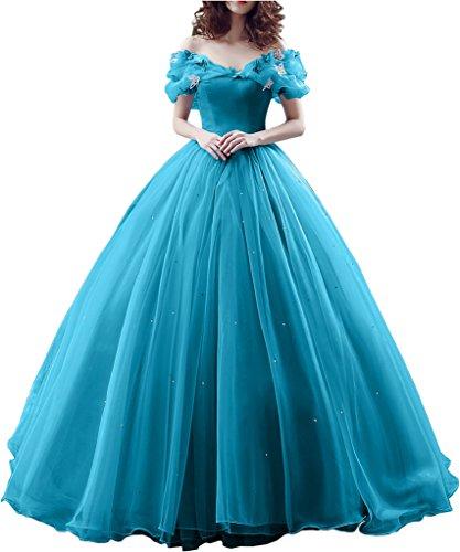 Victory Bridal Wunderschoen Dunkel Blaues Kurzarm Abendleider Quincenera Ballkleider Lang Promkleider Cinderella -50 Dunkel Blau (Disney Winter Kostüme)
