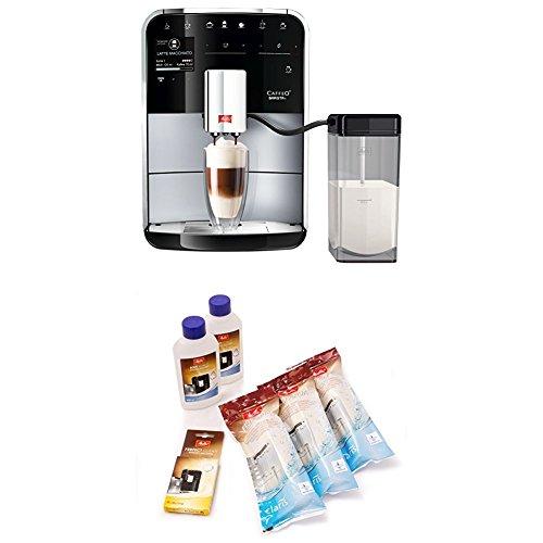 Melitta Caffeo Barista T F730-201, Kaffeevollautomat mit Milchbehälter, IntenseAroma Funktion, One Touch Funktion, Silber + 6er Pflegeset für Kaffeevollautomaten, Wasserfilter
