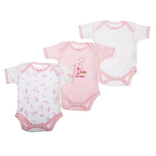 Baby-Body für Mädchen mit Bär Motiv, Kurzarm (3 Stück) (68-74 cm, 9 kg) (wie abgebildet)