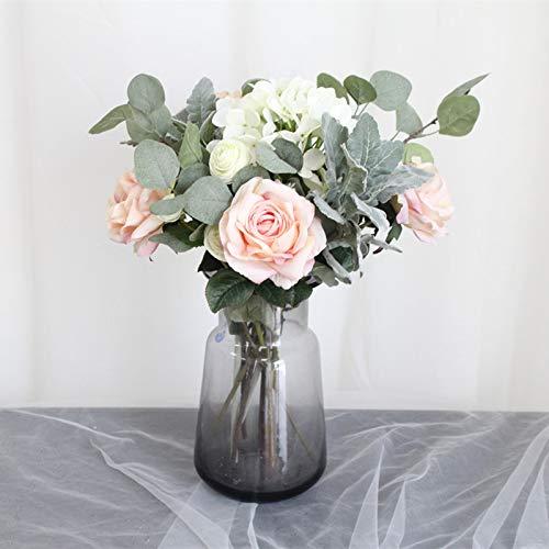 Yirenfeng ortensia rosa ghirlanda di fiori d'imitazione decorazione di nozze di fiori finti decorazione di porta appesa a casa decorazione murale set di fiori decorazione da tavola a
