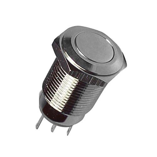 Sharplace 5A / 250V 16mm Wasserdicht Faltkopf Taster Tastschalter Druckschalter Power Switch aus Messing vernickelt , 1 NO 1 NC