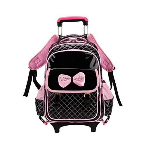 BESBOMIG Schultrolley Rucksack Trolley Schulranzen Schulrucksack - Wasserdichter 6/1 Räder mit Abnehmbar Rollen für Mädchen Kinder