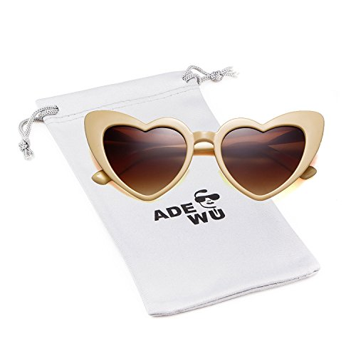 de337196eef0 ADEWU Love Heart Shaped Sunglasses Girls Womens Fashion Retro Glasses UV400  (Light Yellow)