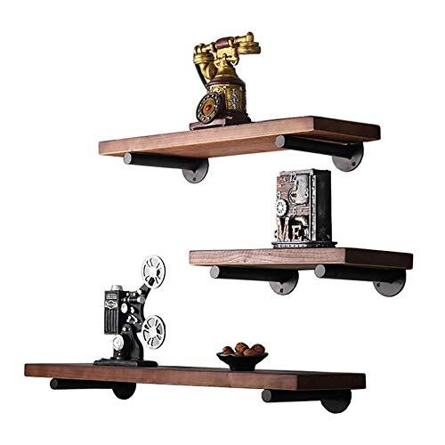 MJJLT Wandregal Bücherregal aus massivem Holz Wohnzimmer-Ausstellungsstand Metall-Aufbewahrungsrahmen Haus Dekoration,80 * 20 * 2CM -