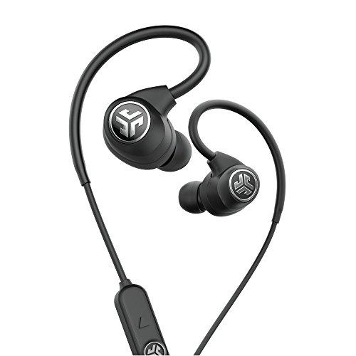 JLab Audio Epic Sport Wireless In-Ear–schwarz–Active Lifestyle 12Stunde Akku Life Bluetooth 4.2mit aptX-Technologie IP66Schweiß-Built in Mikrofone für Handy Anrufe Extra Gel Tipps + Cush Flossen (Jlabs Bluetooth)