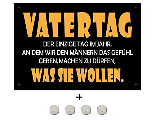 Blechschilderwelt targhetta magnetica per festa del papà, con scritta in lingua tedesca, 20 x 30 cm, 4 calamite incluse