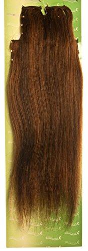 'Dream Hair Extensions à clip Lot de 8 Pièces lisse 14/36 cm semi Marron rougeâtre méché