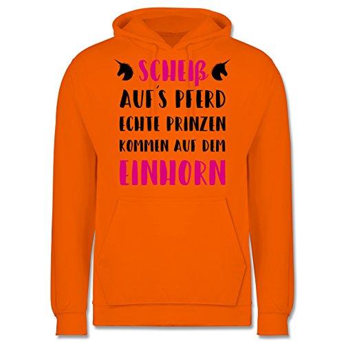 Statement Shirts - Scheiß aufs Pferd echte Prinzen kommen auf dem Einhorn - Männer Premium Kapuzenpullover / Hoodie Orange