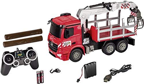 Carson 500907315 - 1:20 MB Arocs Holztransporter 100% RTR, Ferngesteuertes Fahrzeug, Baufahrzeug mit Funktionen Licht und Sound, inkl. Batterien und Fernsteuerung