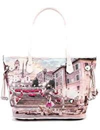 6c13e7da6a YNOT L-336 SHOPPING BAG SMALL Donna STAMPA PINK ROME TU