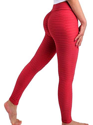 FITTOO Leggings Mallas Mujer Pantalones Deportivos Yoga Alta Cintura Elásticos y Transpirables1490#2 Rojo Chica