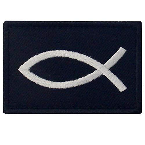 Jesusfisch Ichthys Patch bestickt Morale Applikation Verschluss Haken & Schlaufe Emblem (Mode Polizei Kostüm)