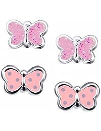 Juego de 2 pendientes infantiles SL-SILVER de pequeña mariposa, plata 925en caja de regalo