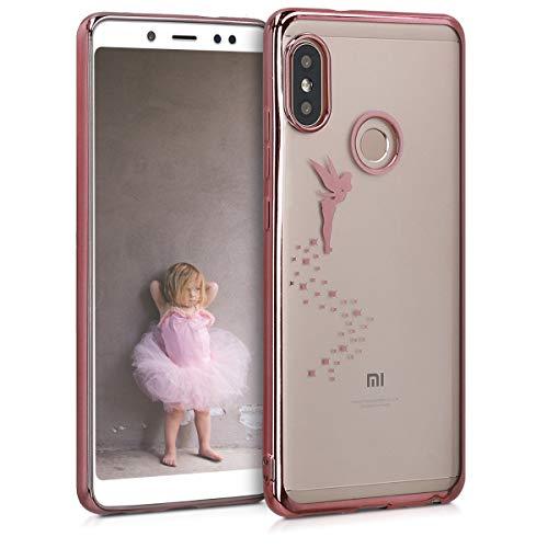 kwmobile Funda para Xiaomi Redmi Note 5 (Global Version) / Note 5 Pro - Carcasa Trasera de TPU con diseño de Hada en Oro Rosa/Transparente