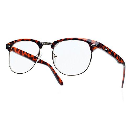 NEW UNISEX (Damen Herren) Retro schwarz Lesebrille Brille +1.0 +1.5 +2.0 +2.5 Reading glasses WAYFARER Clubmaster Morefaz(TM) (Retro brown klare Linse)
