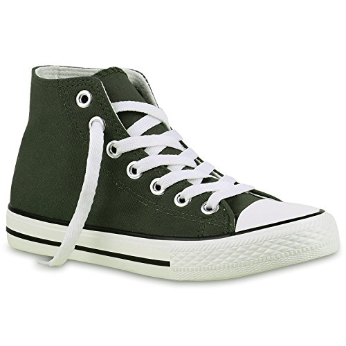Sportliche Damen Sneakers |Stoffschuhe Camouflage Schnürer | Sneaker High Neon | Sportschuhe Dunkelgrün Dunkelgrün