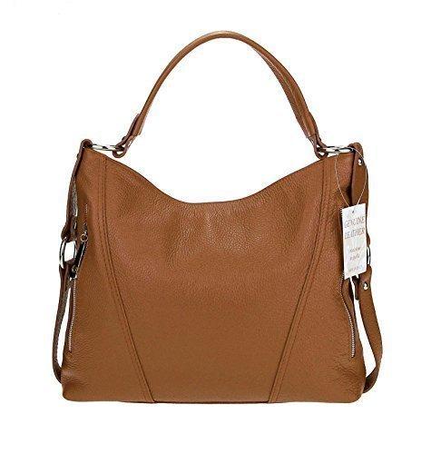 Made in Italy echt Leder Vera Pelle Shopper Henkeltasche Umhängetasche Tasche City Bag Schultertasche 39x39x9 cm (BxHxT) (Cognac) (Gepäck Echt Tasche Leder)