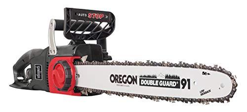 Scheppach Elektro Kettensäge CSE2500 (2400 Watt, Schnittlänge 460 mm, Oregon-Kette- und Qualitätsschwert, Kettengeschwindigkeit: 13m/sec, inkl.  LED-Licht und Zugentlastung für Verlängerungskabel)