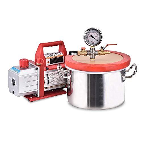 TOPQSC Vakuumkammer-Kit zur Entgasung mit einstufiger 3,5-CFM-Vakuumpumpe HVAC 6,8-Liter-Vakuumkammer mit Vakuumexsikkatoren für das Pumpenlabor Vakuumkammer-Versiegelung -