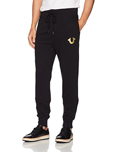 True Religion Herren Metallic Buddha Fleece Runner Pant1 Jogginghose, Black/Gold Print, XXX-Large