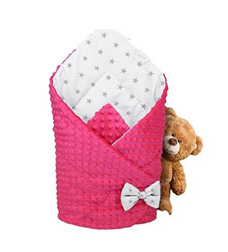 Baby Einschlagdecke Warm Babyhörnchen mit antiallergischer Füllung Baumwolle 80X80 (ROSA)