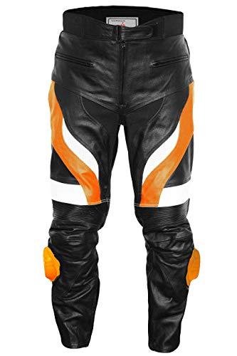 German Wear, Motorradhose Motorrad Biker Racing Lederhose Schwarz/Orange, Größe:52 Leder-biker-wear