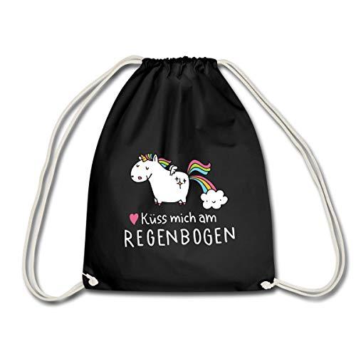 Spreadshirt Einhorn Küss Mich Am Regenbogen Turnbeutel, Schwarz