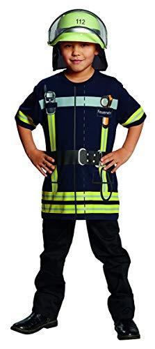 feuerwehrhemd Generique - Feuerwehrmann-Spielshirt für Kinder blau-gelb 98/104 (3-4 Jahre)