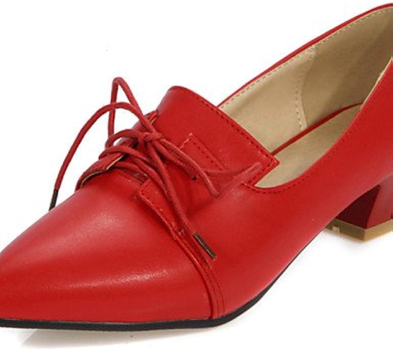 ZQ hug Zapatos de mujer-Tacón Bajo-Tacones / Puntiagudos-Tacones / Oxfords-Oficina y Trabajo / Casual-Semicuero-Negro...