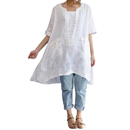OverDose Damen Casual Übergröße Unregelmäßige Mode Lose Leinen Kurzarm Shirt Vintage Bluse Fest Hemd Lang Tank Tops T-Shirt Freizeit Oberteile Tees(Weiß,4XL) (Bowling-hemd-lange ärmel)