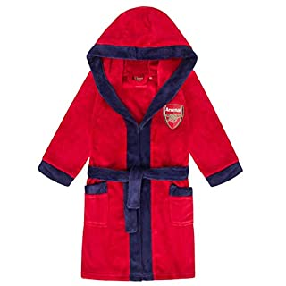 Arsenal FC Official Football Gift Boys Fleece Dressing Gown Robe Red 9-10 Years