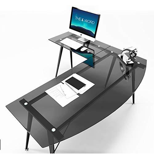 [ZHANGYANA] L-förmigen Schreibtisch einfache Moderne Ecke Schreibtisch Persönlichkeit Ecke Computer Schreibtisch aus gehärtetem Glas Schreibtisch nach Hause - L-förmigen Schreibtisch Möbel