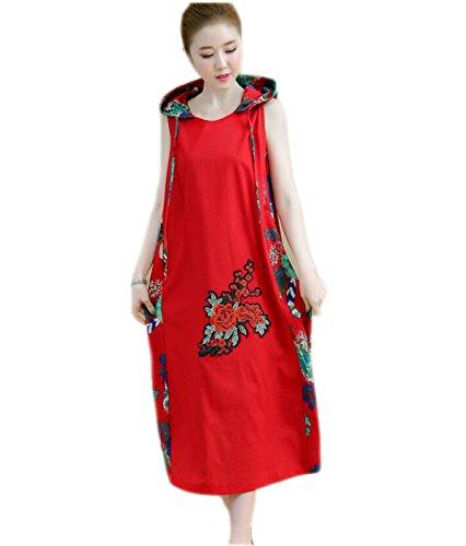HGDR Sommerfrauen Cooton Leinen Rundhalsausschnitt Blumendruckkleid Kurze Ärmel Nationalen Stil Kleid A-Linie Beiläufige Lange Kleid Verlieren Red