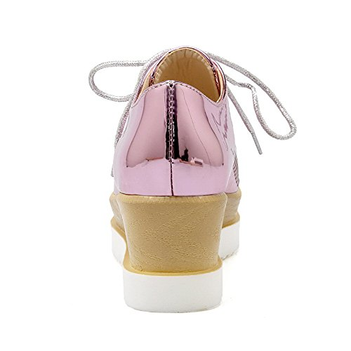 Rosa Donna Del Voguezone009 Tallone Verniciate Merletto Del Colore Quadrata Solido Destra Scarpe Luce H51q57