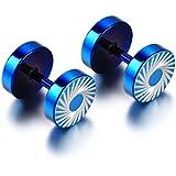 JewelryWe joyería Pendientes de Tapones de Acero Inoxidable Hombre Mujer Unisex Túnel Ilusión Redondos Perno Prisionero Azul 8mm (con bolsa de regalo)