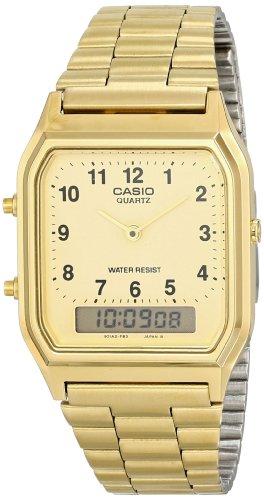 Casio - AQ-230GA-9B - Montre Mixte - Quartz Analogique et digitale - Bracelet Acier Inoxydable Or