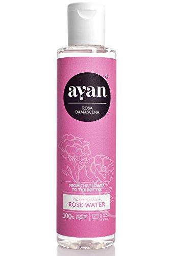 AYAN Naturkosmetik Rosenwasser Pur ✔ Zertifizierte Bio Qualität und Ohne Alkohol ✔ Gesichtswasser für reine und straffe Haut ✔ 200ml