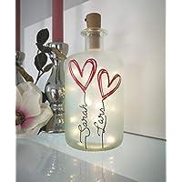 AScreativ Dekoflasche mit Beleuchtung - Namen und Herzen LED Leuchte Leuchtflasche Bottlelight Lichterkette Geschenk Flaschenlicht Homedeco