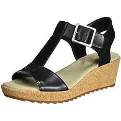 Clarks Kamara Kiki- Sandalias con cuña de 5 cm para mujer, Negro (Black Leather)