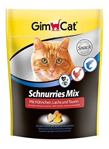 GimCat Schnurries – herzförmiger Katzensnack mit funktionalen Inhaltsstoffen – Taurin für Herz und Augen – Hühnchen- und Lachs-Mix – 1 Beutel (1 x 140 g)