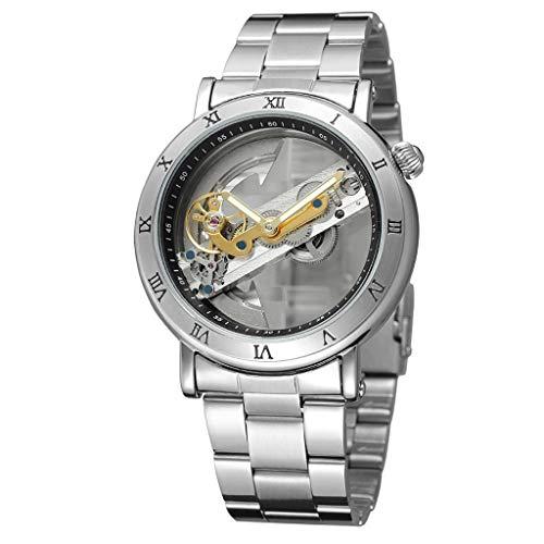 REALIKE Herren Mechanische Uhr,Metallband Hohl Minimalistisches Design Outdoor Laufen wasserdichte militärische Uhren, Retro große Anzeige Sportuhr mit für Männer Cool Sport Erwachsene