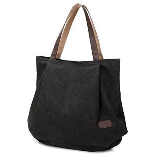 Frauen Segeltuchhandtasche Schultertasche Lässig Einfach Im Freien Großes Volumen Faltbare Tasche Black