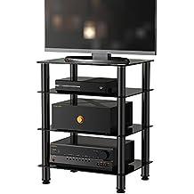 Fitueyes 4 Estante Cristal Soporte de Medios de Comunicación Componente Audio Mueble HiFi Apple TV Xbox One PS4 AS406001GBAM