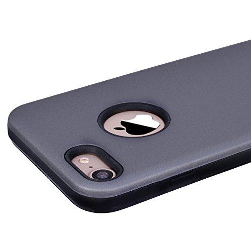 Yokata iPhone 8 Hülle Weiche Silikon 2 in 1 Handyhülle Schutzhülle TPU Handy Tasche Schale Etui Silicone Bumper Ultra Dünn Slim Premium Kratzfest Clear Backcover Schutz für iPhone 8 Case Cover + 1 x K Grau