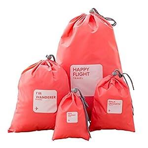 Xianheng 4PCS Sac à Cordon Sac de Rangement Etanche Unisex en Nylon Organisateur de Valises Bagages pour Voyage Sac de Stockage Sac de Chaussures pour Vêtements Objets de Voyage