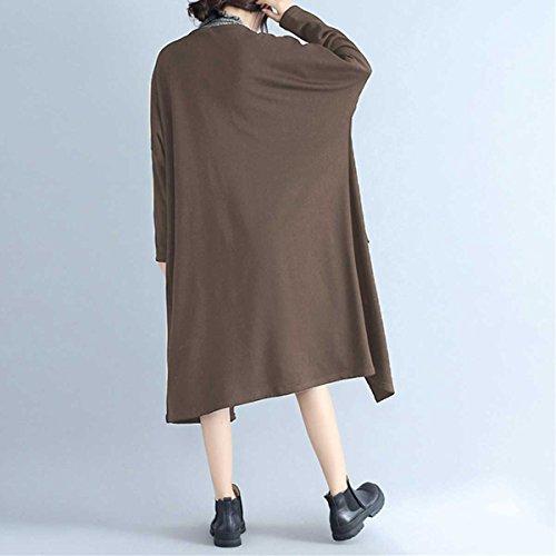VONDA Cardigan Longue Femme Couleur Unie Manches Longues Ouvert Maxi Gilet Manteau Camel