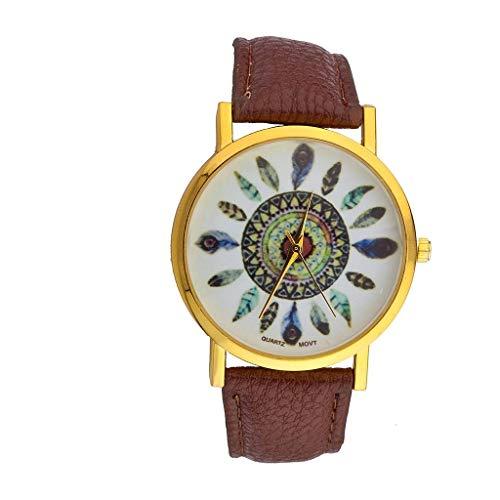 LUX accesorios marrón tribal Atrapasueños plumas de hojas pulsera analógico deporte cuarzo reloj de pulsera