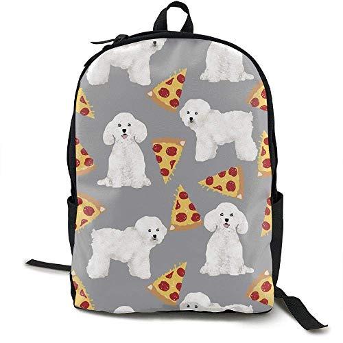 Hipiyoled Laptop Rucksack Bichon Frise Pizza Computer Tasche College School Rucksack Frauen Männer -