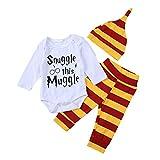 Anywow 3 Stücke Säugling Brief Gedruckt Onesies Hosen Hut Kleidung Set Baby Jungen Snuggle This Muggle Strampler Streifen Hosen Kleidung
