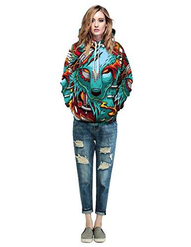 Boom Fashion Herren 3D Druck Kapuzenpullover Sweatshirt Langarm Herbst Spaß Hoodie Farbe 2